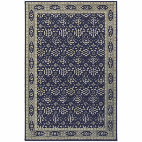 Richmond Navy Grey Oriental Persian Traditional Rug