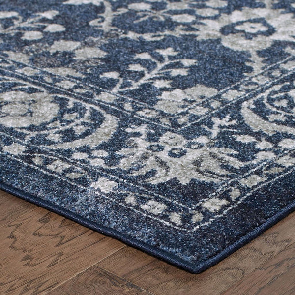 Woven Richmond Navy Grey Oriental Persian Traditional Rug
