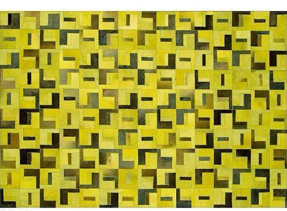 Poshrug Yellow Black Contemporary Cowhide Rug - Free Shipping