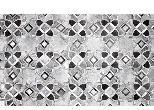 Poshrug Grey Black White Star Cowhide Rug - Free Shipping