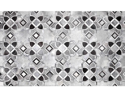 Poshrug Grey Black White Star Cowhide Rug