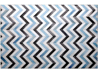 Poshrug White Blue Black Chevron Rug - Free Shipping