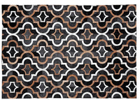 Poshrug Patterned Black, Brown, White Patchwork Rug