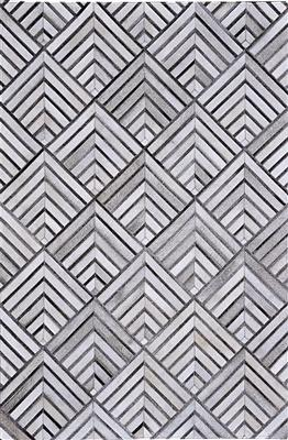 Madisons Gray/Grey Cowhide Rug - Geometric Pattern