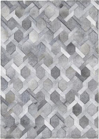 Madisons Gray/Grey Cowhide Rug - Chain Link Pattern