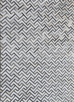 Madisons Grey Contemporary Geometric Cowhide Patchwork Rug