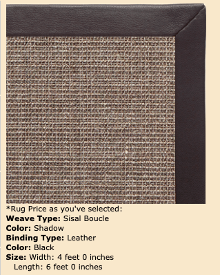Sisal Boucle Shadow Color, Black leather border - 4 ft by 6 ft