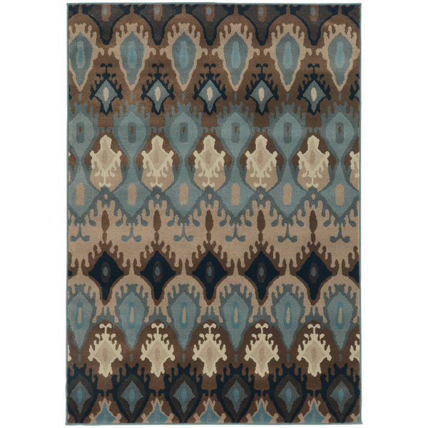 Adrienne Blue Stone Oriental Tribal Transitional Rug - Free Shipping
