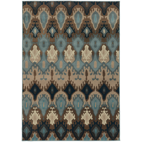 Adrienne Blue Stone Oriental Tribal Transitional Rug