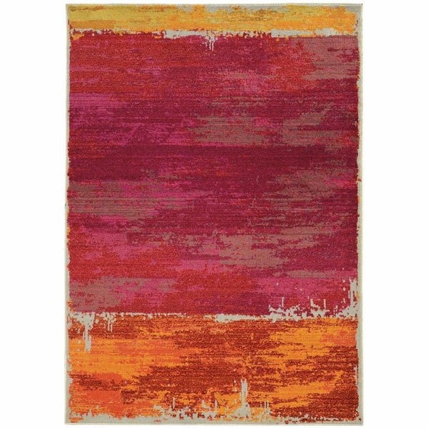 Expressions Orange Pink Abstract Rug - Free Shipping