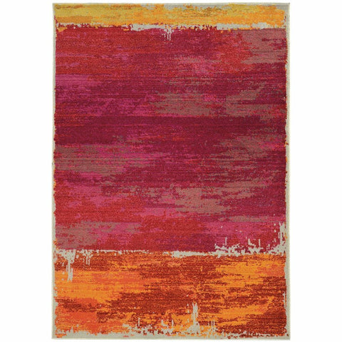 Oriental Weavers Expressions Orange Pink Abstract Rug