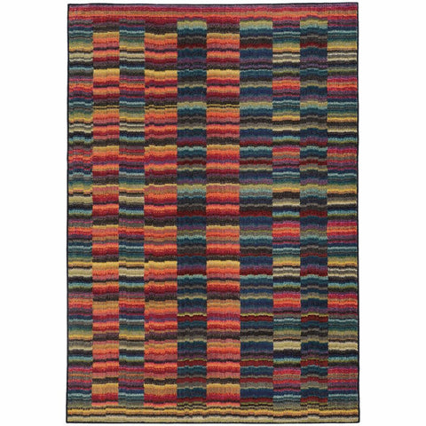 Oriental Weavers Expressions Red Blue Abstract Rug