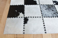 Area Rugs - Madisons Black And White Cow Spot Square Pattern Patchwork Cowhide Rug