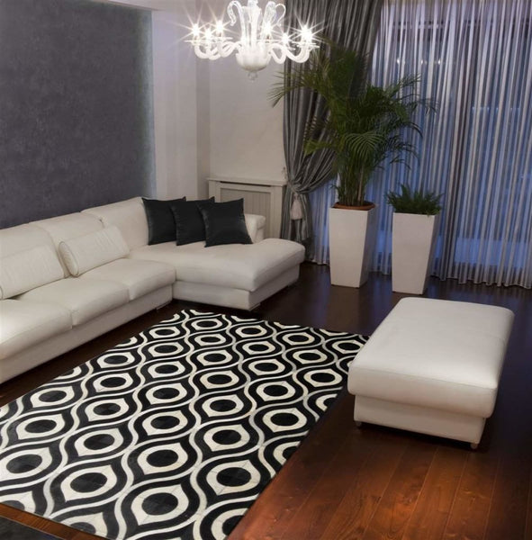 Area Rugs - Madisons Black And White Rug - Geometric Cowhide Pattern