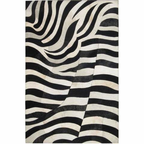 Madisons Black And White Zebra Striped Patchwork Cowhide Rug