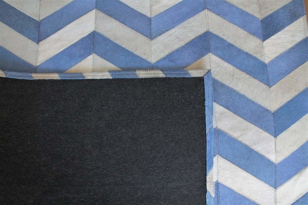 Area Rugs - Madisons Blue & White Chevron Pattern Cowhide Area Rug