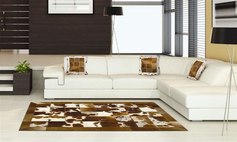 Madisons Brown Patchwork Cowhide Area Rug