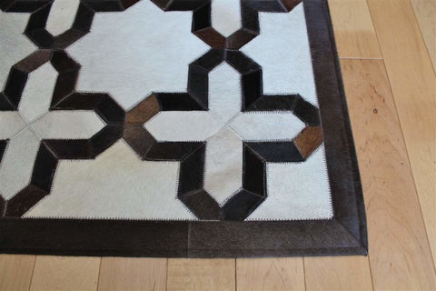 Madisons Brown & White Geometric Patchwork Cowhide Area Rug