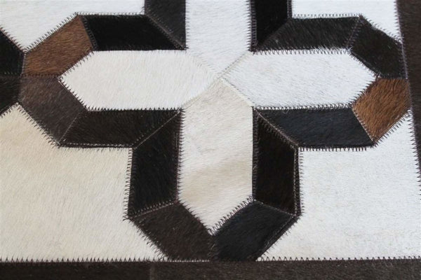 Area Rugs - Madisons Brown & White Geometric Patchwork Cowhide Area Rug