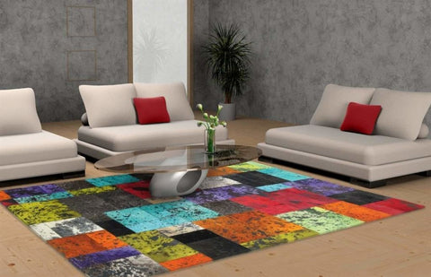 Madisons Colorful Patchwork Cowhide Area Rug