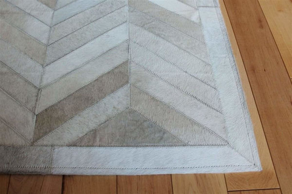 Area Rugs - Madisons Cream Ivory Herringbone Pattern Cowhide Patchwork Rug