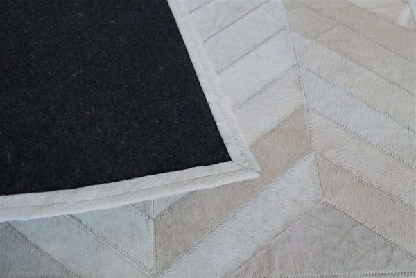 Cowhide Gorgeous Herringbone Cream White Patchwork Rug