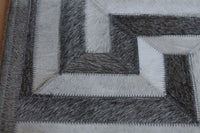 Area Rugs - Madisons Gray And White Cowhide Rug - Patchwork Maze Pattern