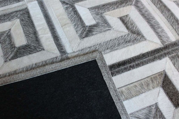 Madisons Gray And White Cowhide Rug Patchwork Maze Pattern