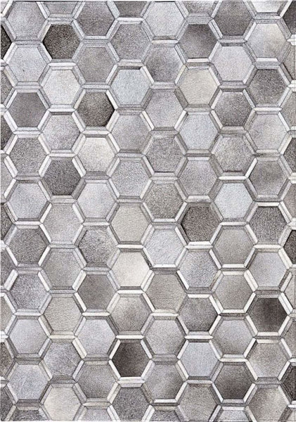 Area Rugs - Madisons Gray Cowhide Area Rug - 3D Hexagon Pattern Cowhide Patchwork Design