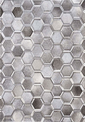 Madisons Gray Cowhide Area Rug - 3D Hexagon Pattern Cowhide Patchwork Design