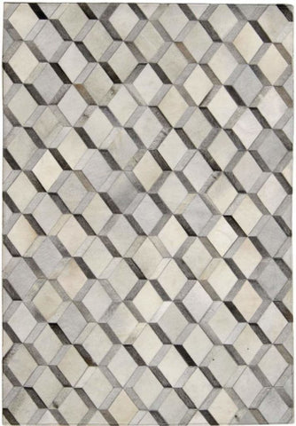 Madisons Grey 3D Diamond Pattern Cowhide Patchwork Rug