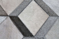 Area Rugs - Madisons Grey 3D Diamond Pattern Cowhide Patchwork Rug