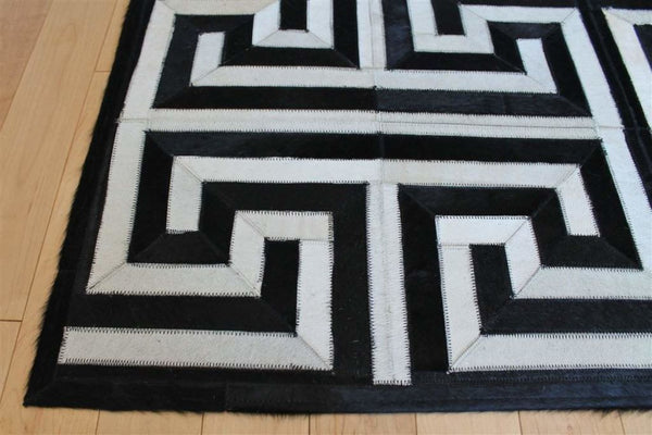 Area Rugs - Madisons Maze Pattern Black And White Cowhide Area Rug