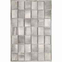 Area Rugs - Madisons Multi-Tone Grey Patchwork Brick Pattern Cowhide Area Rug