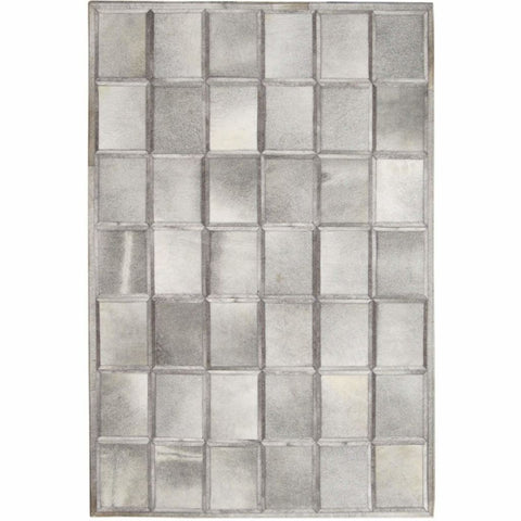 Madisons Multi-Tone Grey Patchwork Brick Pattern Cowhide Area Rug