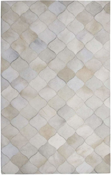 Area Rugs - Madisons Multi-Tone White Geometric Cowhide Area Rug
