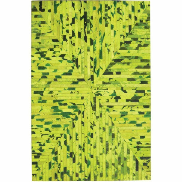 Area Rugs - Madisons Neon Green Cowhide Patchwork Area Rug