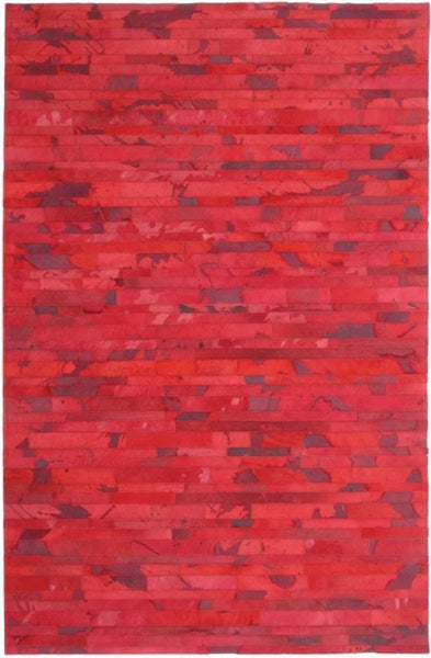 Area Rugs - Madisons Red Cowhide Patchwork Rug
