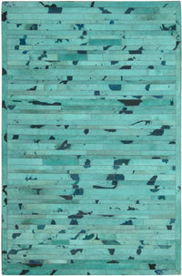 Area Rugs - Madisons Turquoise Blue Cowhide Patchwork Area Rug