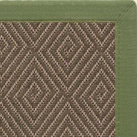 Malta Orris Patterned Outdoor Area Rug with Olive Green Extra Wide Canvas Border - Free Shipping
