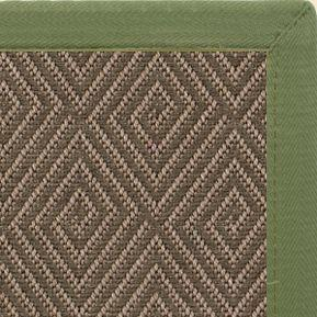 Malta Orris Patterned Outdoor Area Rug with Olive Green Extra Wide Canvas Border