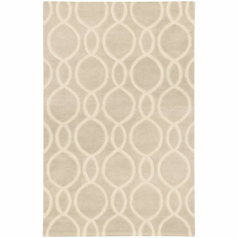 Optic Beige Ivory Geometric Rug