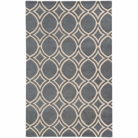 Optic Charcoal Ivory Geometric Rug