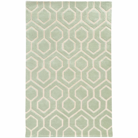 Optic Green Ivory Geometric Rug