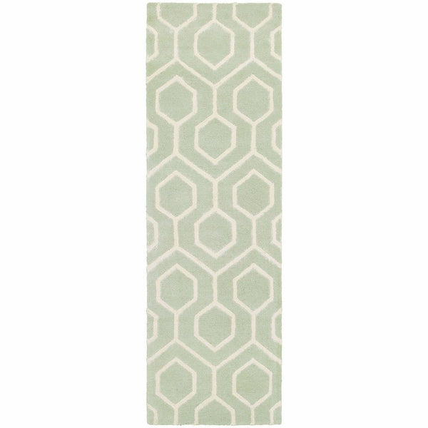 Area Rugs - Optic Green Ivory Geometric Rug