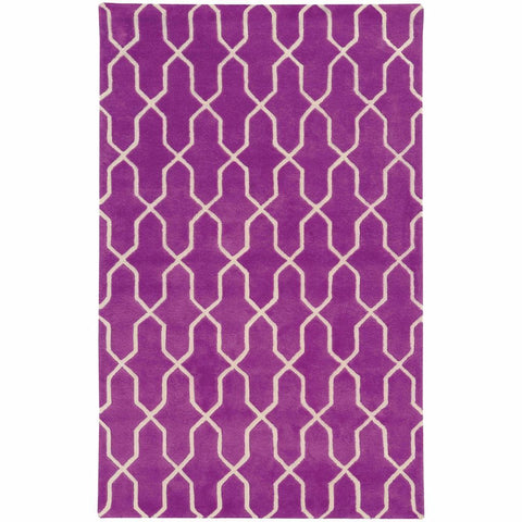 Optic Purple Ivory Geometric Rug