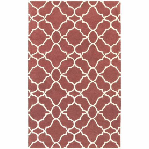 Optic Rust Ivory Geometric Rug