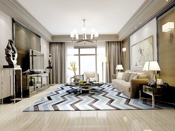 Area Rugs - Poshrug Blue Black Chevron Patchwork Rug