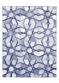 Area Rugs - Poshrug Blue White Intrinsic Starred Cowhide Rug