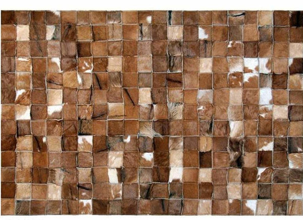 One Of A Kind Handmade Genuine Cowhide Rug Brown Squares